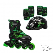 patines roller derby carver black-green (incluye proteccion)