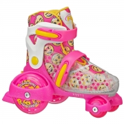patines roller derby fun roll girls pink-yellow