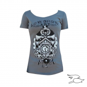 CAMISETA LOWBROW WOMENS OWL CLOCK SCOOP NECK