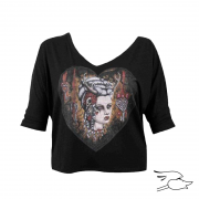 camiseta lowbrow womens hunters kiss oversized v-neck