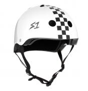 casco s-one lifer white gloss w/ checkers