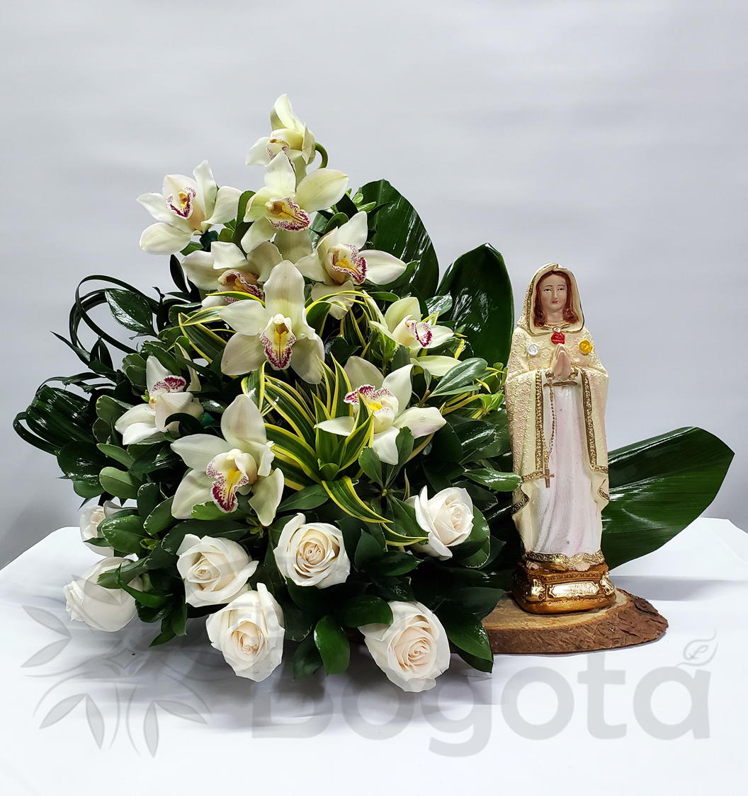 virgen con rosa, orquideas condolencia