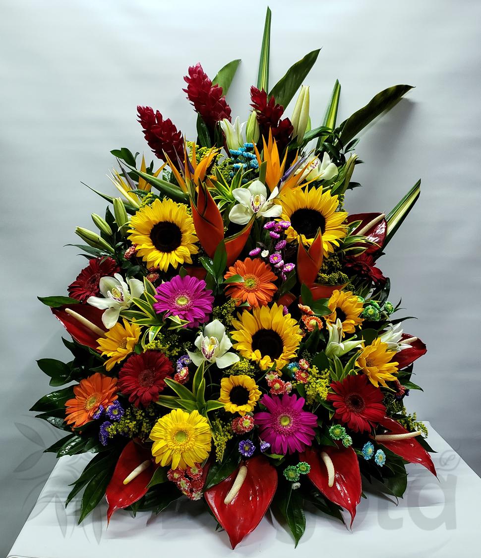 Arreglo con flores exoticas, orquideas, aves de paraíso, gerberas, anturios y lirios